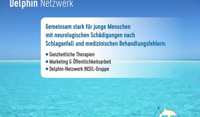 Delphin Netzwerk. Gemeinsam stark für junge Menschen mit neurologischen Schädigungen nach Schlaganfall und medizinischen Behandlungsfehlern. Ganzheitliche Therapien, Marketing + Öffentlichkeitsarbeit, Delphin-Netzwerk INSEL-Gruppe. Das Bild zeigt blaues Meer und blauen Himmel