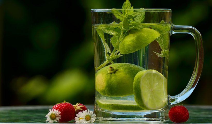 Nicht zu wenig trinken, Wasser mit Geschmack, Wasserglas mit Zitrone und Pfefferminze
